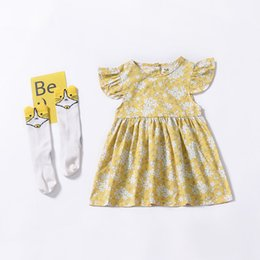 5f53039c7 Baby Clothes Girls Dress 2019 Small Flying Sleeve Floral Flower Printed  Dress Pleated Princess Dress Beach Dresses Children Kids Skirt Q20