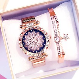 yellow gray bracelet UK - 2020 Hot Sale Women Magnet Buckle Lucky Flower Watch Luxury Ladies Rhinestone Quartz Watch Bracelet Set Relogio Feminino