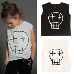 $enCountryForm.capitalKeyWord Australia - INS Baby Boy Girl Sleeveless Skeleton Pattern Shirt White Black Kids Clothing Tops Blouse Casual Clothes Cotton Preppy Kids Clothing 2-7T
