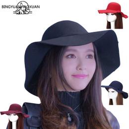 ad90712c0a5 BINGYUANHAOXUAN 2017 New Style Soft Women Vintage Wide Brim Wool Felt  Bowler Fedora Hat Floppy Cloche Women s Large Jazz Hats  47369
