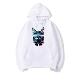 blank white hoodies Canada - wholesale Men Blank Solid Color Personality cat avatar Multicolor hoodies Lose Hip Hop Street wear Sweatshirts Frauen streetwear