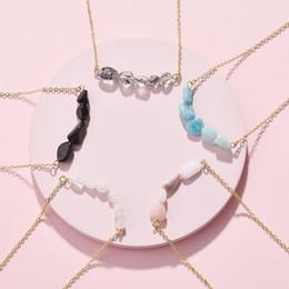 $enCountryForm.capitalKeyWord NZ - Natural Amazon stone Beads Necklace Black white Pink Stone Bar Pendant Necklace New York Brand Jewelry