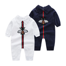 Wholesale hot necked girls for sale - Group buy INS hot Baby Clothes Baby stripe Rompers Spring Autumn New Romper Cotton Newborn Baby Girls Boy Kids Designer cartoon Bee Infant Jumpsuits
