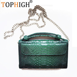 multi body chain 2019 - TOPHIGH Luxury Cowhide Leather Clutch Shoulder Cross-body Bag Small Crocodile Pattern Genuine Leather Clutch Chain Women