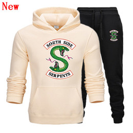 flannel pullover NZ - Riverdale New Men Suit Hoodie+pants Plus Size South Side Serpents Tops Spring Hoodies Men Women Hooded Pullover Tracksuit Sets QJ8