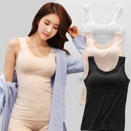 047ac157150d9 2019 New Sexy Women s Cotton Wide Shoulder Straps Built In Bra Padded Bra  Tanks Top Camis Vest Summer Casual Basic Camisoles Black White