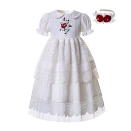 flower girl dolls UK - Pre-salel White Embroidery Doll Collar Flower Girl Communion Party Solid Long Party Layers Dress B455 (dress Length Under Knee) Q190522
