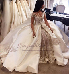 Images Brooch Flowers Australia - 2019 Champagne Robe De Mariage A-Line Wedding Dresses lace appliques stain sweep Train jewel Neck Custom Made Vestidos De Novia Bridal Gowns