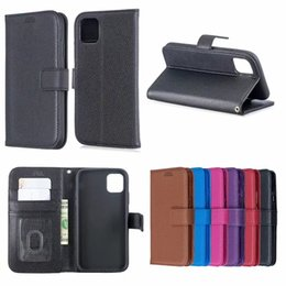 Discount magnetic phone pocket holder - PU Leather Wallet Case For Iphone 5.8 6.1 6.5 inch 2019 Litchi Leechee Flip Photo Card Magnetic Holder Stand Flip Phone