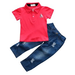 $enCountryForm.capitalKeyWord Australia - Fashion Summer Baby Boys Clothes Set 2pcs Red Polo shirt+Jeans Kids Clothes Children Suit Short Sleeve Bebes Casual Outfits