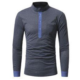 Shirt Collar Hit Australia - Mens Polo Shirt Brands 2019 Male Long Sleeve Casual Slim Classic Stand Collar Hit Color Polos Men Polo Shirt
