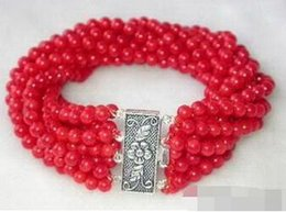 red quartz beads Australia - 8 Rows 4 mm Red Coral Beads 18KWGP Flower Clasp Bangle Bracelet >Wholesale Lovely Women's Wedding Jewelry