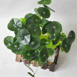 plastic lotus plants 2019 - 12 Branches Plastic Flower Grass Green Lotus Leaf Imitation Fern Artificial Grass Leaves Plant Fish Tank Ornament Decor