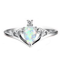 China Luckyshine 10 Pieces Classic Crown Rose Gold White Opal Gems Ring Silver Women Opal Zircon Ring Weddings Rings Gift supplier silver crown gift suppliers