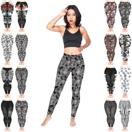 Wholesale tattoo leggings resale online - Women Leggings Mix Styles Skull Faces Pattern Roses Ornament Muerte Nightmare Rock Tattoo Symbols Warning Stripes D Print Pants Y215