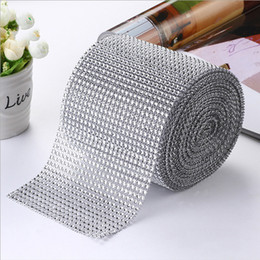 wholesale diamond mesh roll UK - 8yards lot Silver Rhinestone Roll Tape Tulle Crystal Ribbons Cake Wedding Decoration Glitter Charming Ribbon Bling Diamond Mesh Wrap