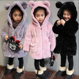 Baby Girl Jacket Ears Australia - Luxury Faux Fur Coats Winter Jacket For Girls Baby Clothes Parka Children Cute Cartoon Animal Ear Hooded Outerwears N190