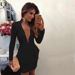 $enCountryForm.capitalKeyWord Australia - Summer Designer Women Dresses Sexy Temperament V Neck Long Sleeve Hip Pencial Dresses Sexy Club Womens Clothes