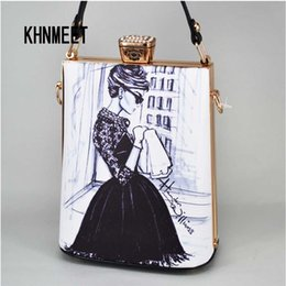 Painting Faces Australia - Fashion Cartoon Characters face Painting Bag PU Women Clutches Totes Bag Party Handbags LadY Crossbody Bag Evening Clutch Purse