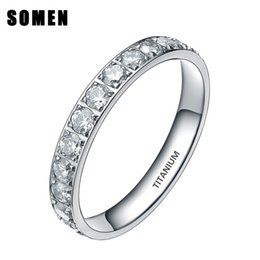 drop shipping rings Australia - 3mm Titanium Luxury Cubic Zirconia Women Wedding Ring Ladies Eternity Engagement Rings Promise Jewelry Drop Shipping Bague Femme J190627