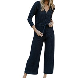 Plus Size V Neck Jumpsuit Australia - Long Sleeve Sexy Jumpsuit V Neck Rompers Womens Jumpsuit Button Lace Up Plus Size Casual Macacao Feminino 40SY14