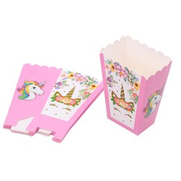 $enCountryForm.capitalKeyWord Australia - 6pcs lot Pink Unicorn Popcorn Box Kids Party Supplies case Gift Box Favor Accessory Birthday Party Supplies Favor