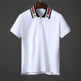 66250807d ss19 Italy Cotton polo with Web and feline head men tiger Striped Solid polo  shirt collar polos mens t shirts clothing shorts g451 Poloshirt
