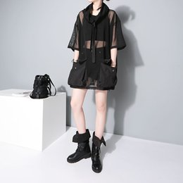 Black See Through Tee Australia - 2018 Japanese Style Summer Women See Through Mesh Tee Top 1 2 Sleeve Oversized Black T Shirt femme Hipster Harajuku T-shirt F370