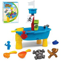 seaside toys NZ - Kids Sand Water Play Table Pirate Ship Inside Outdoor Seaside Beach Garden Sandpit Sandglass Toy