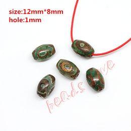 $enCountryForm.capitalKeyWord Australia - prayer mala Hot!!! Approx12mm*8mm Prayer Mala Tibetan Mystical Dzi 3 Green Eyes Beads 2pcs lot DIY necklace Gift Free Shipping(w03461)