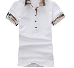 Ingrosso Camicie da donna estate T Moda Slim cotone manica corta T-shirt casual reticolato Abbigliamento donna Magliette Donna Abbigliamento Taglie forti
