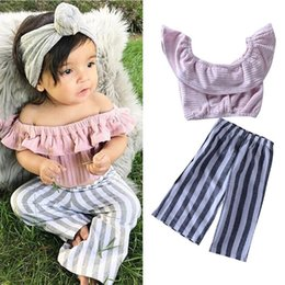 1dc13d72501e Baby girls outfits Pink Off Shoulder Tops T-Shirt+Striped Bell-bottom  Trousers 2pcs set 2019 Spring Autumn Boutique kids Clothing Sets C6097