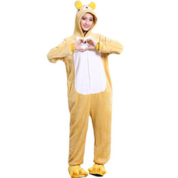 0d28dde08e83 Rilakkuma Bear Onesie Adult Women Men Pajama Animal One piece Overall Thick  Soft Yellow Sleep Jumpsuit Holiday Festival Wear