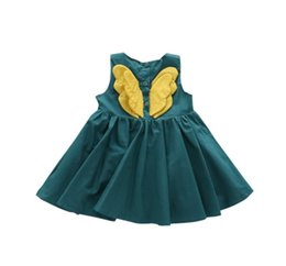 Wholesale Angel wing dresses vest tank Skirts for baby girls children boutiques latest design summer girl dresses