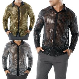 Stage Shirts Australia - Casual Dot Scales Shirt Men Sequin Long Sleeve Sexy Designer See Through Shirt Golf Lapel Stage Custom Tops