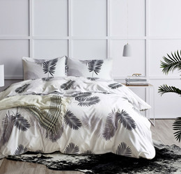black gold bedding sets 2019 - Black White Bed Cover Set 2 3pcs Green Gold Palm Leaves Bedding Set Twin Queen King Size Pastoral Bed Linen Quilt Cover
