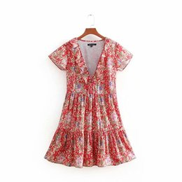liberty shorts 2019 - Women Deep V-Neck Bohemian Dress With Short Sleeve Gypsy Short Dresses For Women 2019 Boho Chic Floral Print Liberty Hol