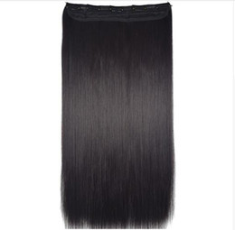 """light clip hair extensions 2019 - Heat Resistant B5 Synthetic Fiber 24"""" 60cm 120gr Straight 5 clips on Hairpieces clip in hair Extensions 90 colors a"""