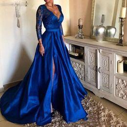 Wholesale Royal Blue Prom Dresses V Neck Lace Appliques Long Sleeve Front Split Formal Evening Dresses Party Gowns