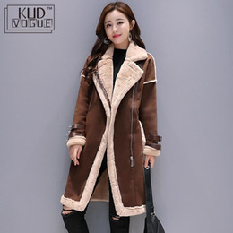 Wholesale fur lined leather jacket women resale online - Women Faux Leather Lambs Wool Coat Female Long Thick Warm Shearling Coats Suede Leather Jackets Autumn Winter Female Outerwear T190923