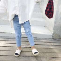 Discount boys korean jeans fashion - Spring Autumn Korean Style Fashion Ripped Jeans For Mom And Daughter Family Matching Jeans Mother And Me Skinny Denim Pa