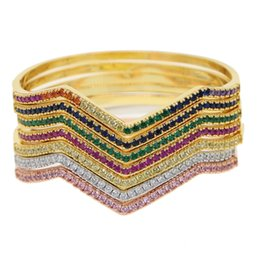china stone bracelets UK - Rainbow stone Cuff Bracelets&Bangles Top Gold Color red\blue\pink CZ Crystal Buckle wave Charm Bracelet For Women Jewelry 2019