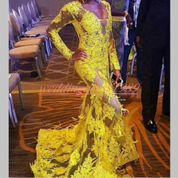 $enCountryForm.capitalKeyWord Australia - Beautiful Mermaid V-Neck African Evening Dresses Mermaid Lace Long Sleeve Feather Party Formal Plus Size Special Occasion Pageant Prom Gowns