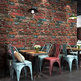 Cafe wallpaper online shopping - beibehang Retro nostalgic stereo imitation brick wallpaper cafe bar restaurant culture stone red brick wallpaper papel de parede