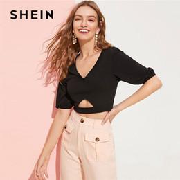2115dd11 Black Lady Glamorous Elastic Cuff Bishop Sleeve Cut Out Crop Tee Summer  Sexy V Neck Half Sleeve Solid Short Women T Shirt C19041001