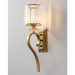 modern wall lights for hallway Canada - New design American creative crystal wall lamps wall lighting fixture gold wall mount lights led sconce light for bedside hallway ktichen
