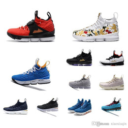108bcacb9afb3 Cheap men lebron 15 Diamond Turf basketball shoes for sale Floral Lifestyle  Black White Blue low cut outdoor sneakers boots with box size 12