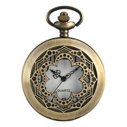 $enCountryForm.capitalKeyWord NZ - Retro Hollow Flower Shaped Quartz Pocket Watch Antique Bells Round Dial Necklace Pendant Chain FOB Watch Relojes de bolsillo