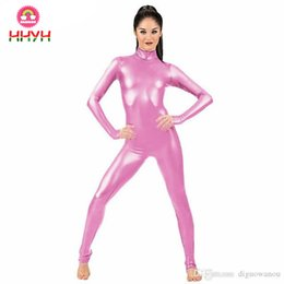 $enCountryForm.capitalKeyWord Australia - Jumpsuit Clubwear Stagewear Party Pole Dancing Costumes Pink Sexy High Collar 2019 Women Zip Patent Leather Bodysuit