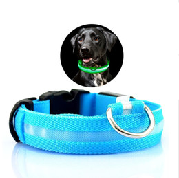 Nylon Dog Collar Wholesale UK - Nylon LED Dog Collar Light Night Safety LED Flashing Glow Pet Supplies Pet Cat Collars Dog Accessories For Small Dogs Collar LED